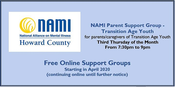 NAMI Howard County Online Parents of Transition Age Youth (TAY) Support image