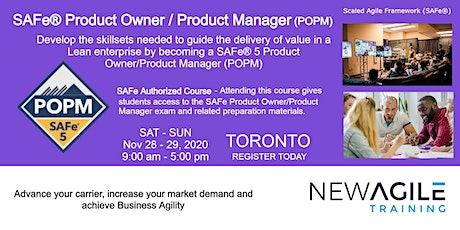SAFe® 5 Product Owner / Product Manager (POPM) Certification Toronto tickets