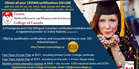 Start a career in the Pharmaceutical, Food or Cannabis field in CANADA - Free On-line seminar tickets