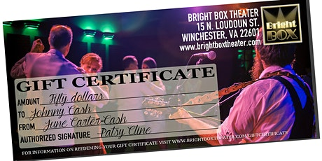 BRIGHT BOX THEATER GIFT CERTIFICATE tickets