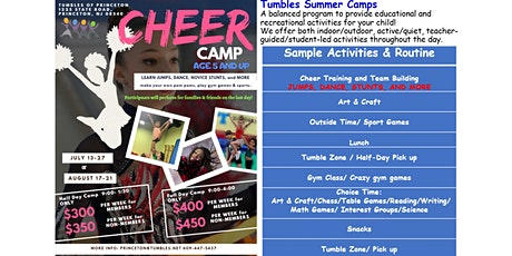 Half-Day Cheer Camp- $300/week for members; $350 /week for non-members. Use code MAY15 to get 15% Off before 5/15/20. Use code JUNE1 to get 10% off before 6/1/20.   tickets