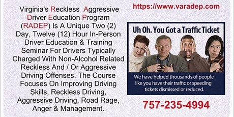 4 Hour Reckless / Aggressive Virginia Driver Course tickets