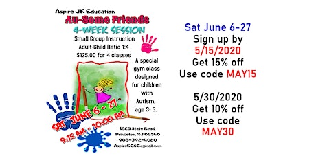Au-Some Friends -Social Skill Class.  $40.00@  Sat June 6- June 27 tickets
