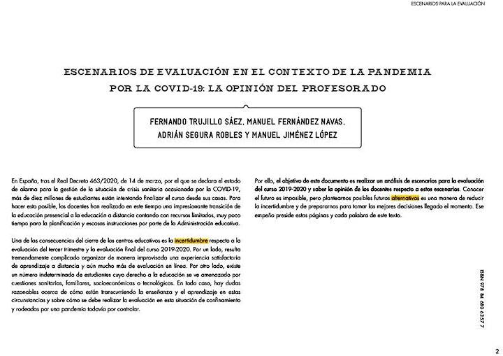 """Imagen de """"Evaluación y equidad desde el confinamiento"""" con Fernando Trujillo."""
