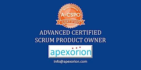 GUARANTEED! A-CSPO ONLINE (Advanced CSPO) - August 22-23, Santa Clara, CA tickets