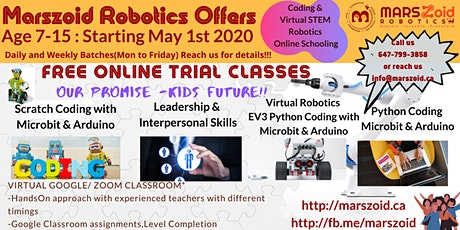 Free Online Coding and Robotics Classes for Kids Age 7 to 15 tickets