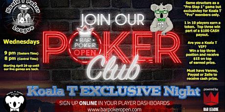 Weekly Online Poker League Tournament Thru Bar Poker Open Pro tickets